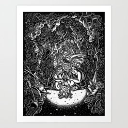 couple sits in a cave of their possessions Art Print