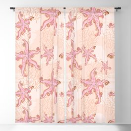 Starfish and Coral Pink Pastel Pattern Blackout Curtain