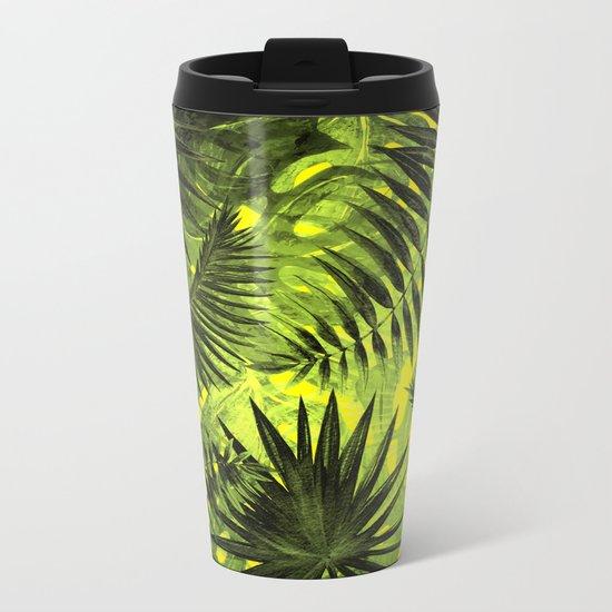 Tropical Leaves Aloha Jungle Garden Metal Travel Mug