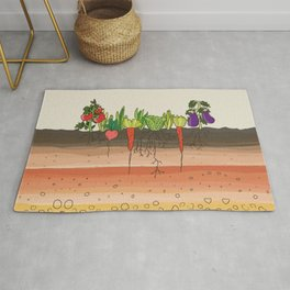 Earth soil layers vegetables garden cute educational illustration kitchen decor print Rug