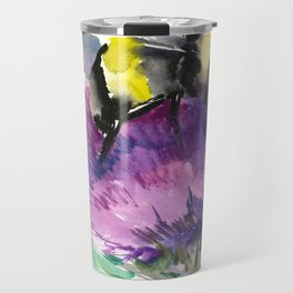 Bumblebee and Thistle Flower, honey bee floral Travel Mug