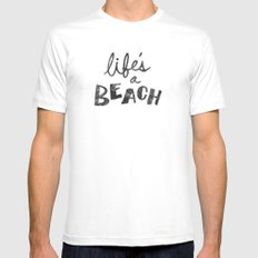 Life's a Beach. X-LARGE Mens Fitted Tee White