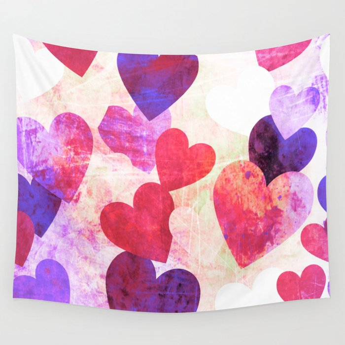 Fab Pink & Purple Grungy Hearts Design Wall Tapestry