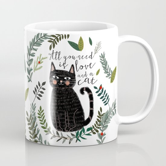 All You Need Is Love And A Cat Coffee Mug By Mia Charro