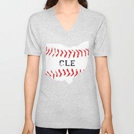 Distressed Cleveland Baseball Shirt Cleveland Ohio Unisex V-Neck