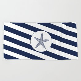 Nautical Starfish Navy Blue & White Stripes Beach Beach Towel