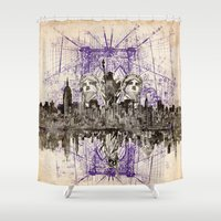 new york Shower Curtains featuring new york new york by Bekim ART