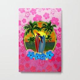 Tropical Sunset Pink Flower Metal Print