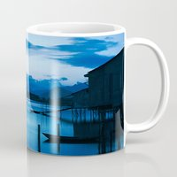 buddhism Mugs featuring BLUE VIETNAMESE MEDITATION  by CAPTAINSILVA