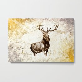 Antique stag art drawing handmade nature painting Metal Print