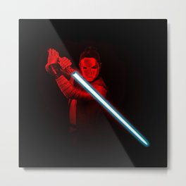 Red Rey Blue lightsaber Art StarWars Metal Print