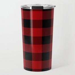 Red & Black Buffalo Plaid Travel Mug