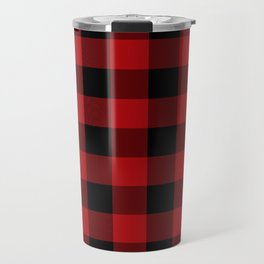 Red & Black Buffalo Plaid Travel Mug