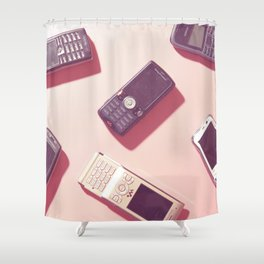 01_Hand phone in pink Shower Curtain
