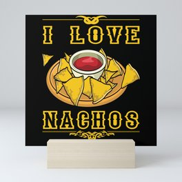 I Love Nachos Tortilla Burrito Motif Mini Art Print