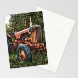 Vintage old red tractor Stationery Cards