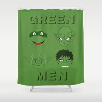 men Shower Curtains featuring GREEN MEN by CRNLSMATA