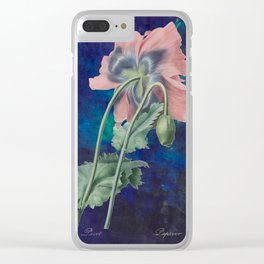 French Poppy - Vintage Botanical Illustration Collage Clear iPhone Case