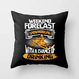 Cool Weekend Forecast Snowmobile Rider Gift Idea Throw Pillow