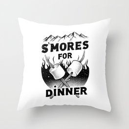 S'MORES FOR DINNER Throw Pillow