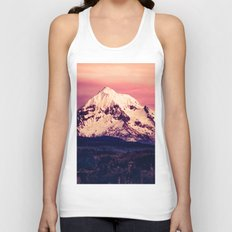 Forest Mountains - Mt Hood Snow Clouds Mountain and Trees Unisex Tank Top