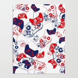 Video Game Red White & Blue 3 Poster