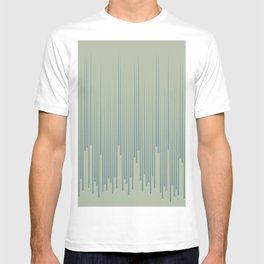 Blue-Green Frequency Line Art Pattern 2021 Color of the Year Aegean Teal and Salisbury Green T-shirt