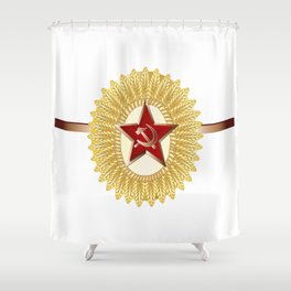 Soviet Officer Cap Badge Shower Curtain