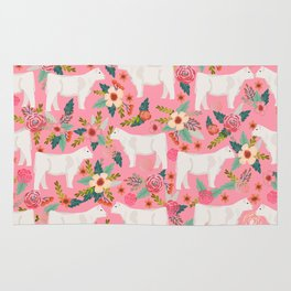 Charolais cattle farm must have gifts homesteader cow breeds florals Rug