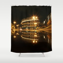 Colosseum reflection at night Shower Curtain