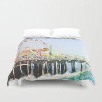 santa monica Duvet Covers featuring Santa Monica Pier by SoCal Chic Photography