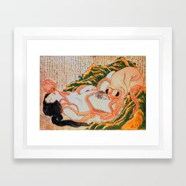 Dream of the Fisherman's Wife Hokusai Shunga Erotic Sex Pictures Japan Framed Art Print