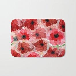 Pressed Poppy Blossom Pattern Bath Mat
