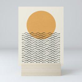 Ocean wave gold sunrise - mid century style Mini Art Print