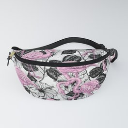 Flamingos and hibiscus flowers Fanny Pack