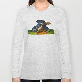 Black Vulture or Carrion Crow Eating a Dead Deer Long Sleeve T-shirt