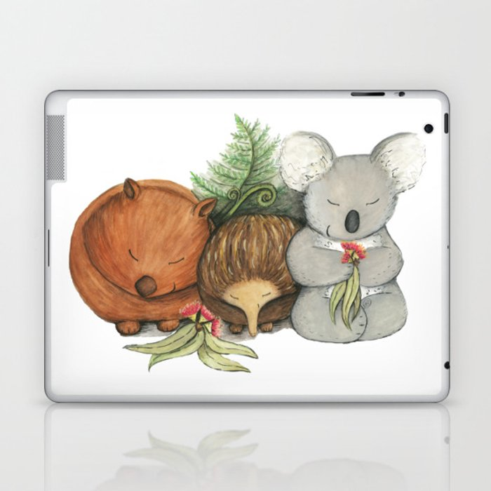 Native Australian Animal Babies – With Koala, Wombat And Echidna Laptop & iPad Skin