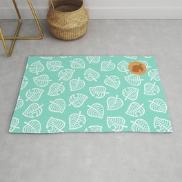 animal crossing villager nook shirt pattern white leaf Rug
