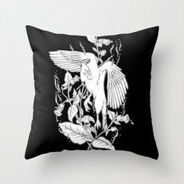 Deadly Nightshade & Bird Throw Pillow