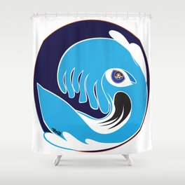 Waveboarder Smiley Shower Curtain