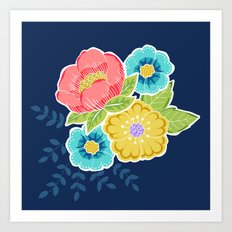 Floral Beauty - Midnight Art Print
