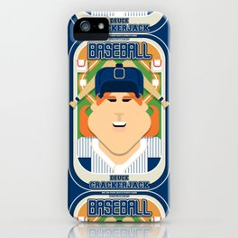 Baseball Blue Pinstripes - Deuce Crackerjack - Jacqui version iPhone Case