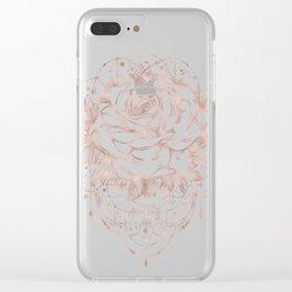 Mandala Lunar Rose Gold Clear iPhone Case