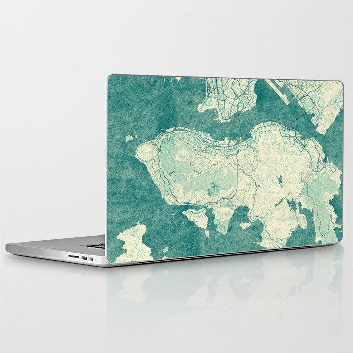 Hong Kong Map Blue Vintage Laptop & iPad Skin by hubertroguski
