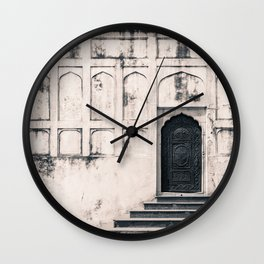 Mughal Indian Black and White Architecture in Red Fort, New Delhi Wall Clock