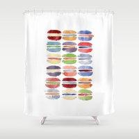 macaron Shower Curtains featuring Macaron by Marta Li