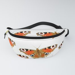 Beautiful Peacock Butterflies On A White Background #decor #society6 Fanny Pack