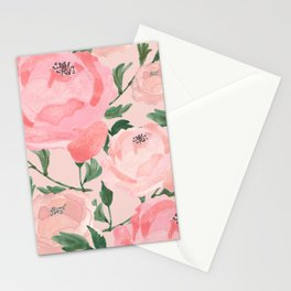 Watercolor Peonies with Blush Background Stationery Cards