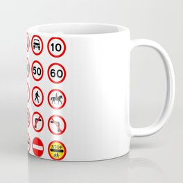 Road Signs - Red Round Coffee Mug