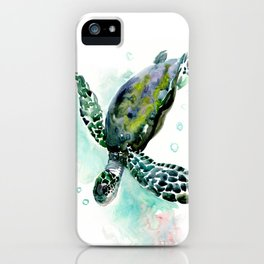 Sea Turtle, underwater scene,  green turquoise beach house design iPhone Case
